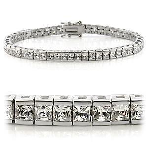 Channel Set Princess Cut CZ Tennis Bracelet