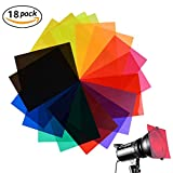 JeVenis 18 Pack Correction Gel Light Filter Transparent Color Lighting Overlays Film Plastic Sheets, 8.5 * 11 Inches, 9 Colors