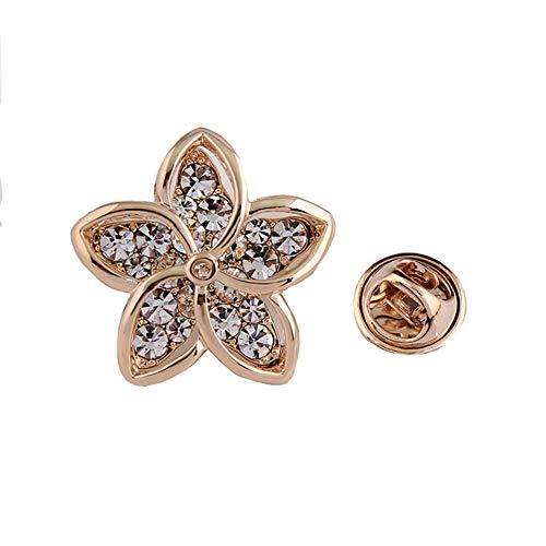 Lapel Pin 2CM Clear Rhinestone Crystal Brooch Pin Flower Crown Fishbone Eye for Women Girls Gift (Flower)
