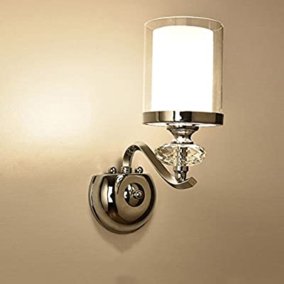European Simple Single Round Glass Wall Lamp Modern Bedroom Bedside Aisle Plating Iron Wall Light ( Design : 1 )