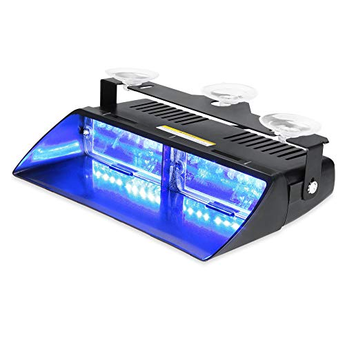 WOWTOU Emergency Strobe Dash Light 16W Bright Blue LED with 18 Flash Patterns for Volunteer Firefighter EMT EMS POV Police Hazard Warning - Strobe Blue