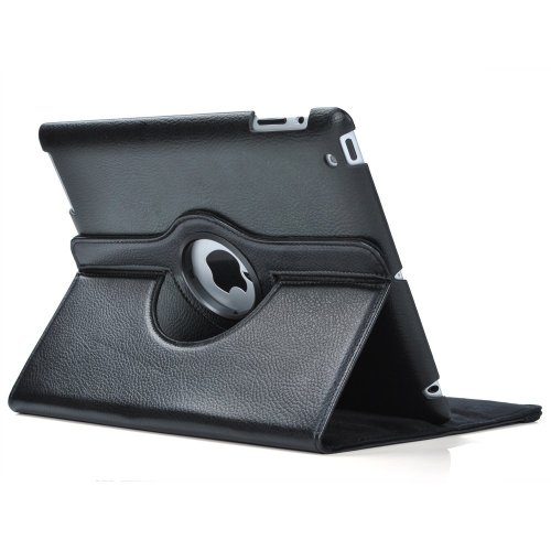 2nd Generation Apple (SuperLite 360 Degrees Rotating Stand Leather Case for Ipad 2/3/4, Black)