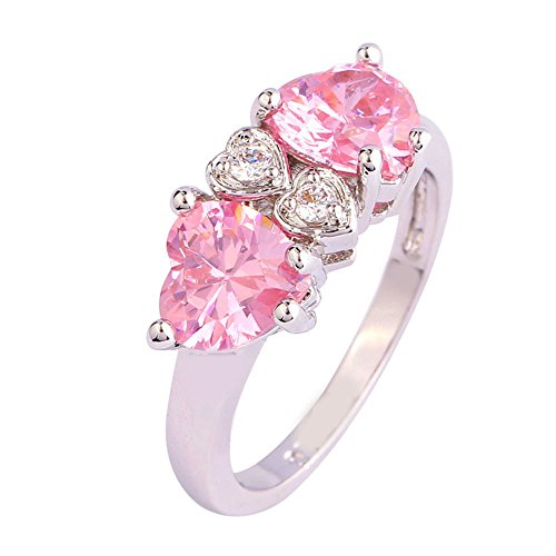 Empsoul 925 Sterling Silver Natural Chic Filled 2.5ct Pink Topaz Forever Love Wedding Ring Heart Shaped ()
