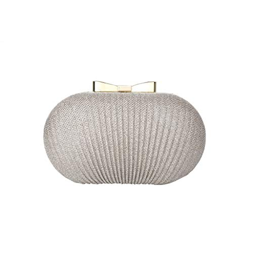 (Grateful for everything Shiny Pleated Metal Bow Goose Egg Clutch Bag Lady Small Dress Dinner Bag)