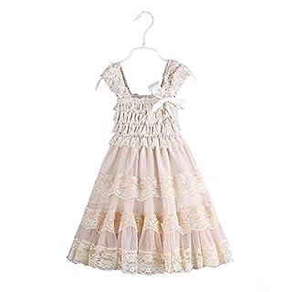 2016 encaje de flores de arpillera rústica niña bebé país vestido de flores de boda, Champange, talla grande XL, talla de EE. UU. 5 años