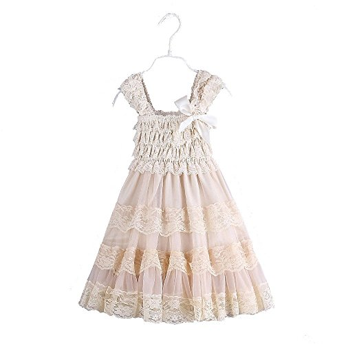 2016 lace flower rustic Burlap girl baby country wedding flower dress,Champange, Size L, US Size 4 Years
