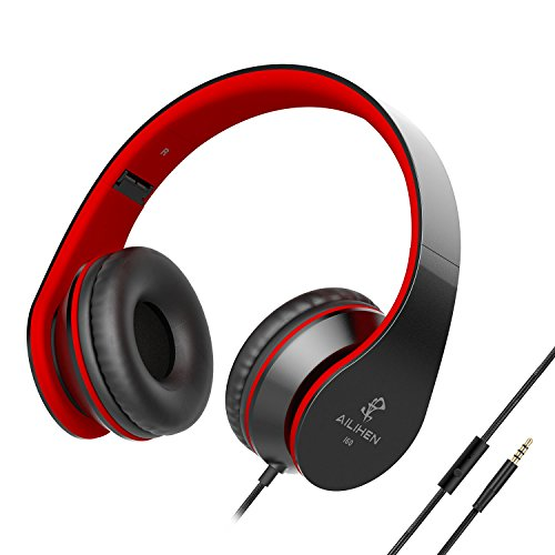 AILIHEN I60 On Ear Headphones with Microphone for iPhone iPad Laptop Tablet Android Smartphones(Black Red)