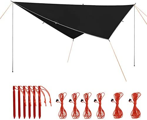 REDCAMP Camping Tarp Shelter Lightweight with Adjustable Tarp Poles 10ft//12ft Waterproof Tent Tarp with 2 PCS Telescoping Tent Poles for Backpacking Hiking