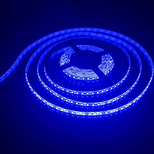 FAVOLCANO LED Light Strip, Blue IP65 Waterproof LED Tape Light, SMD 3528, 600 LEDs 16.4 Feet(5M)LED Strip 120 LEDs/M Flexible Tape Lighting