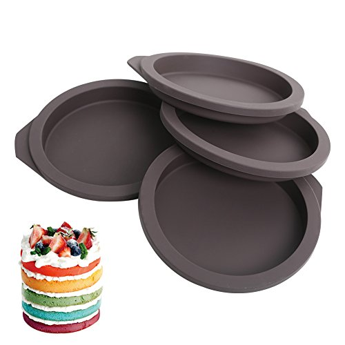 Silicone Mold Rainbow Cake for Kids - Reusable DIY Mold Nonstick Heat - Resistant Muffin Pans Molds - BPA Free - Set of 4 (Mold Round Bread)