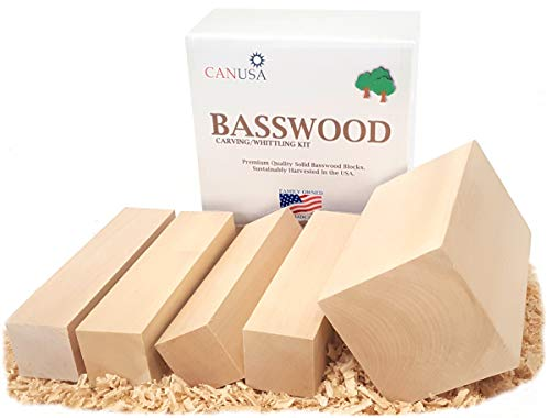 Balsa Block (Best Value Basswood Beginners KIT. 1/3 More Wood Than Other Kits! Premium Unfinished Carving/Whittling Wood Blocks for Kids or Adults, Beginner to Expert.)
