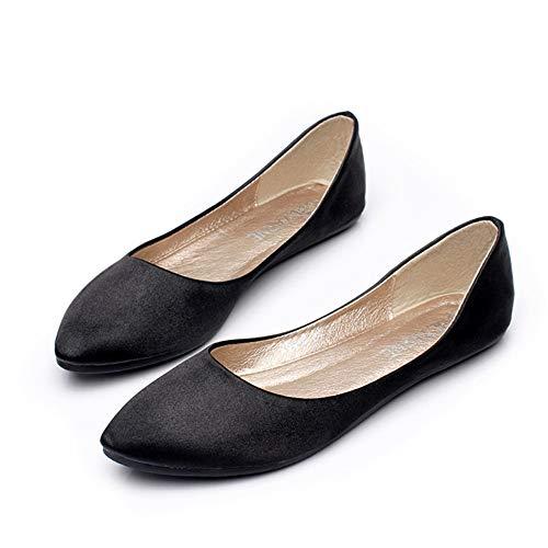 FLYRCX Los Zapatos Planos de satén de Las Mujeres Zapatos de Trabajo Antideslizantes Coloridos Casuales Zapatos de Trabajo Respirables cómodos black