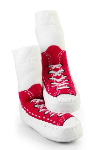 Mocc Ons Clever Little Slipper Socks Sneaker, 18-24 Months, Red
