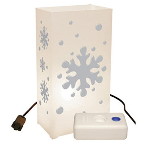 Set of 10 Lighted Winter Snowflake Luminaria Pathway Markers Kit with LumaBase