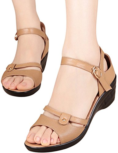 Youlee Women's Round Peep Toe Roman Sandals Summer One Word Band Sandals Style 2 Camel loedv