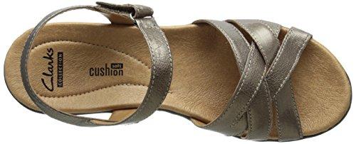 Clarks Womens Hayla Pier Dress Sandalo In Peltro