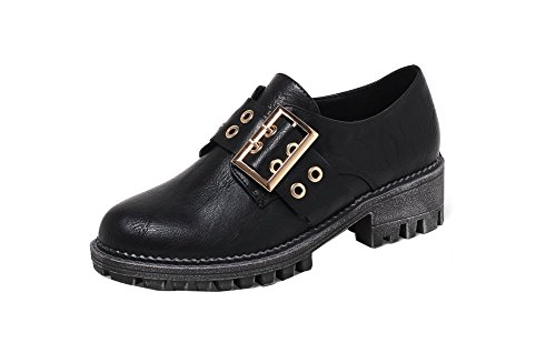 Solid Shoes Pull Round PU On Women's Black Pumps Kitten WeenFashion Toe Heels Closed AqHPz5xnnw
