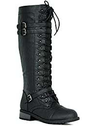Women's Knee High Riding Boots Lace Up Buckles Winter Combat Boots