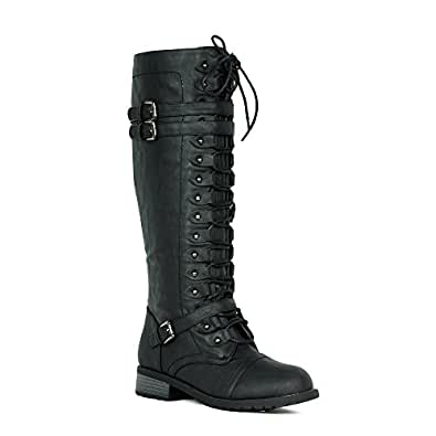 Amazon.com | Women's Knee High Riding Boots Lace Up