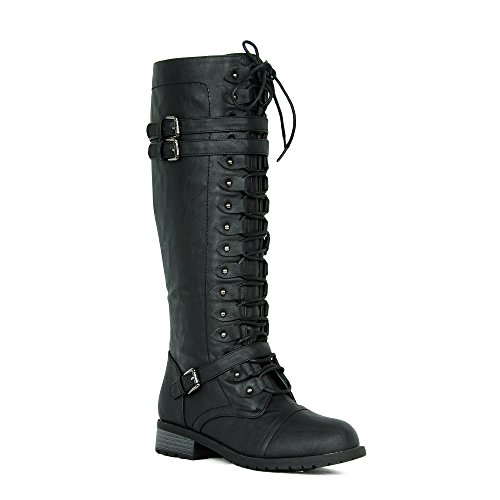 Women's Knee High Riding Boots Lace Up Buckles Winter Combat Boots Black (Strap Riding Boots)