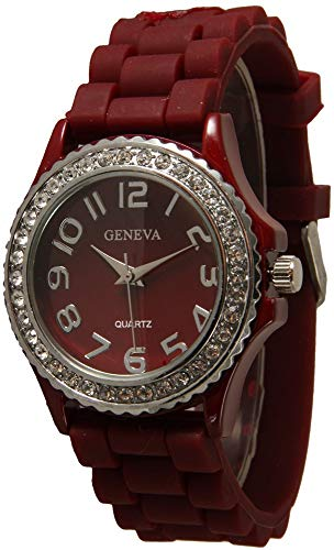 Fashion Watch Wholesale Geneva Silicone Watch with Rhinestones (Burgundy)