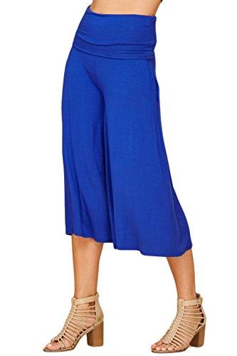 Annabelle Women's Fold Over Waist Wide Leg Culotte Gaucho Capri Pants Medium Royal Blue ()