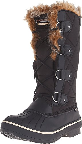 Skechers Women's Highlanders-Tall Quilt Snow Boot,Black,6 M US Diff
