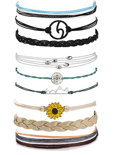 Long tiantian 2 Pcs Summer Surfer Wave Anklet Bracelet for Woman,Adjustable Waterproof Ocean Wave Braided Rope String Bracelet Set (P-3set)