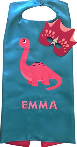 Personalized Dinosaur Superhero Embroidered Cape and Mask Set by Thimbleful Threads (Pink Long Neck w/Pink (Personalized Custom Embroidered Cape)