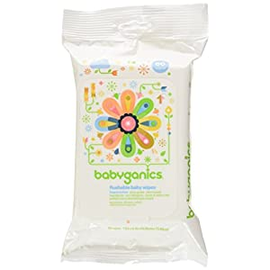 Babyganics Flushable Wipes, 60 ct, 3 pack, Packaging May...