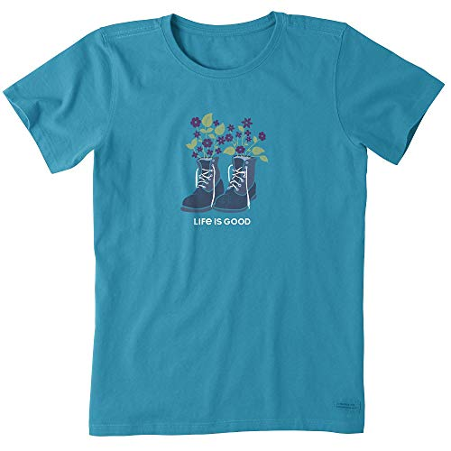 A Boot T-shirt - Life is Good Womens Graphic T-Shirt Crusher Collection,Boots,Seaport Blue,XL