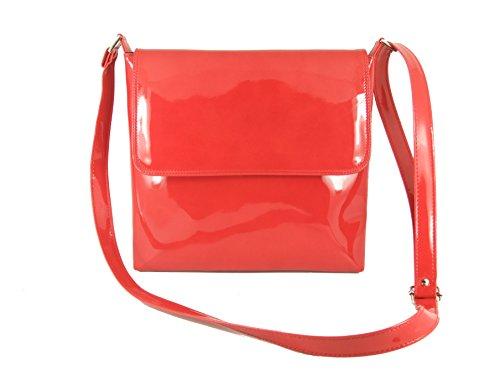 LONI Cool Patent Cross-Body Shoulder Bag Red