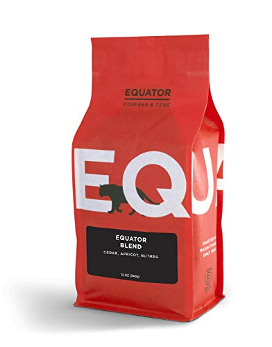 Equator Coffees & Teas Equator Blend, Roasted Whole Bean Coffee, 12 Ounce Bag Chocolate Whole Bean Tea