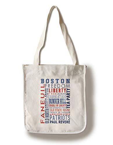Lantern Press Boston, Massachusetts - Typography - Patriotic (100% Cotton Tote Bag - - Massachusetts Bag