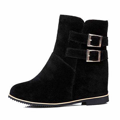 High Toe Boots AmoonyFashion on Closed Solid Suede Imitated Black Heels Round Pull Womens xPvgPwIq4