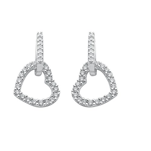 Jareeya - Cœur ouvert Pendants d'oreilles, 9 ct or blanc, diamants 0,50 CT