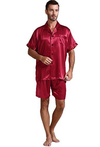 Mens Silk Satin Pajamas Set Sleepwear Loungewear Wine L