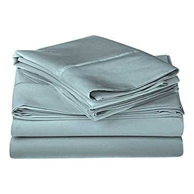 1200 Thread Count 100% Premium Long-Staple Combed Cotton, Single Ply, King Bed Sheet Set, Solid, Teal