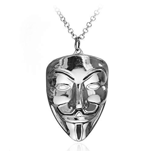(Unisex Titanium Stainless Steel V for Vendetta Clown Mask Hip-hop Charm Pendant Necklace)