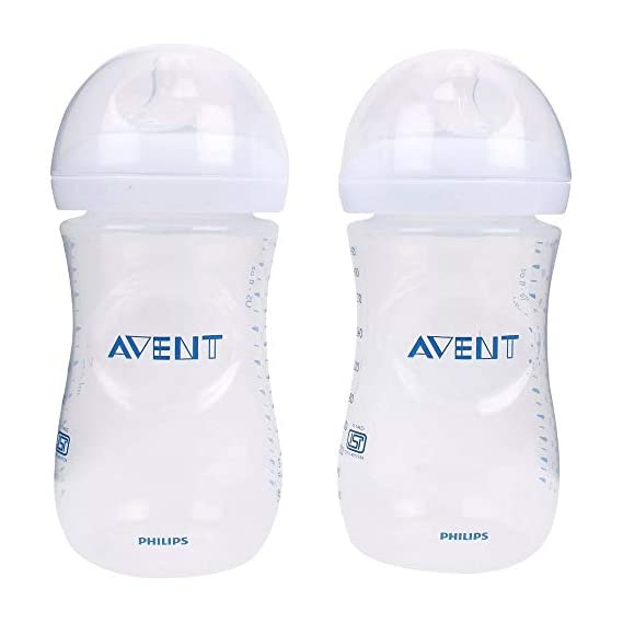 Philips Avent 260ml Natural Feeding Bottle (Clear, Pack of 2)