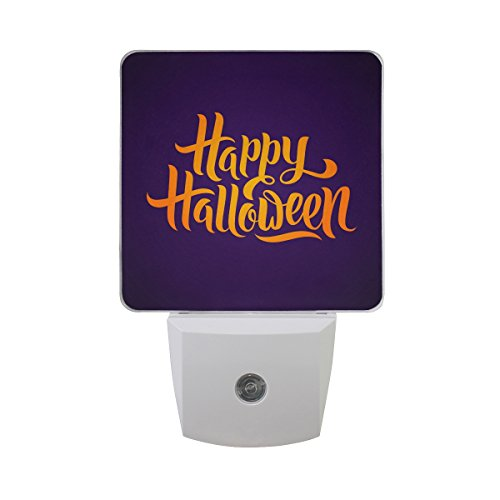 Naanle Set of 2 Orange Happy Halloween Word Letter Calligraphy Text On Violet Purple Background Auto Sensor LED Dusk to Dawn Night Light Plug in Indoor for Adults]()