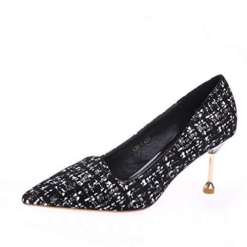 YMFIE Estilo Europeo tacón de Aguja en Punta Elegante Temperamento Sexy Zapatos de tacón Alto Zapatos de Boca Baja Solo Zapatos de Las señoras Zapatos de Trabajo A