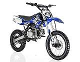 Apollo Original Dirt Bike X18 | 125CC RFZ Racing | Kick Start, 4 Speed Gears Manual Transmission Clutch | Double Spare Frame | Big Tiers 17/14 (Blue)