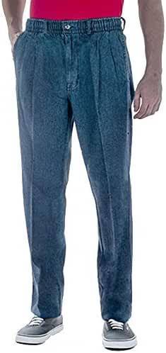 Creekwood Full Elastic Waist Twill Pants for Big and Tall Mens - 100% Pure Cotton