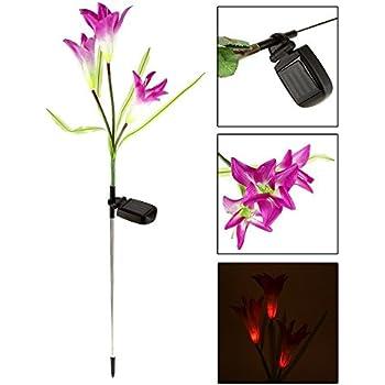 ecoolbuy solar power purple lily flower rgb color change led light garden yard lamp purple