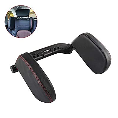 Aukee Headrest Pillow, Car Memory Foam Car Neck Pillows Soft Leather for Driving Home Office