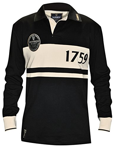 Guinness Cotton Jersey (Guinness Official Merchandise Classic Jersey, Black & Cream, Medium)