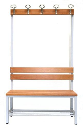 Garderoberückwand (1-seitig) + 1 x Sitzbank, HxBxT:170x100x30 cm, mit Schuhrost, Marke: Szagato (Umkleidesitzbank, Umkleidebank, Garderobenbank, Bank)