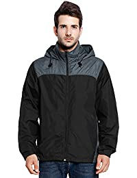 Men's Waterproof Front-Zip Rain Jacket With Hideaway Hood#7051