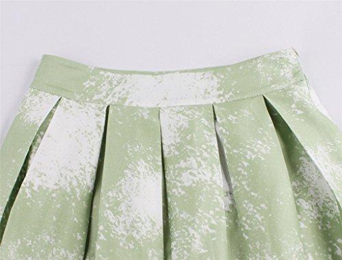 Eudolah Damen Kleid Vintage Sommerrock Knielang Faltenrock Stoffdreuck Gruen Baum p9Oz76nw